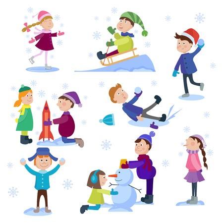 450x450 Christmas Kids Playing Winter Games Skating, Skiing, Sledding