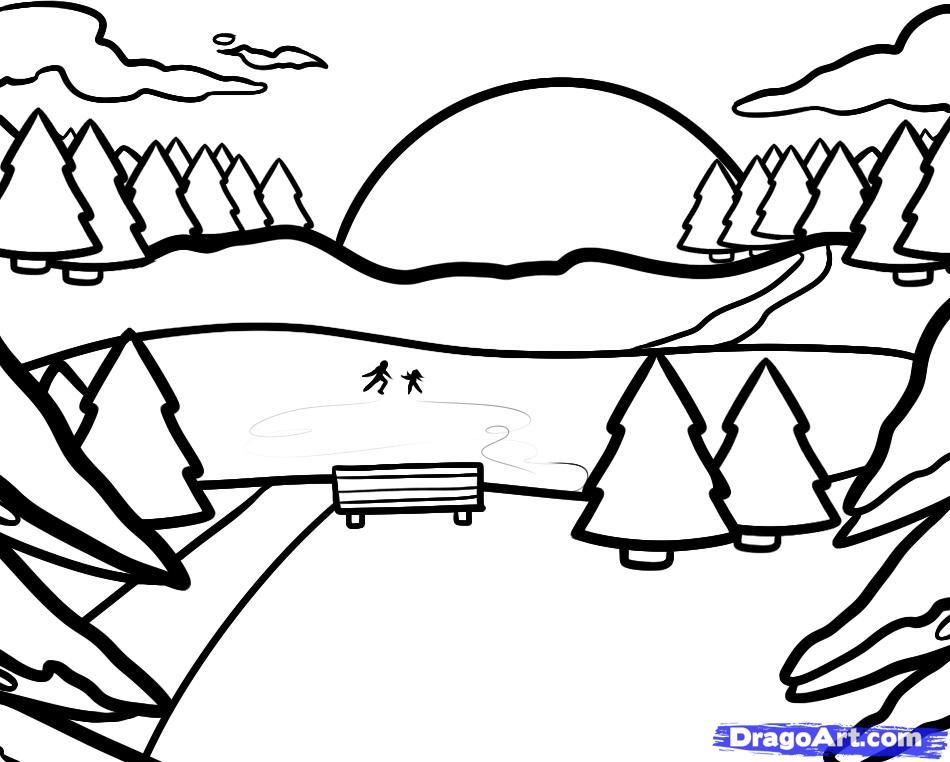 Winter Landscape Drawing