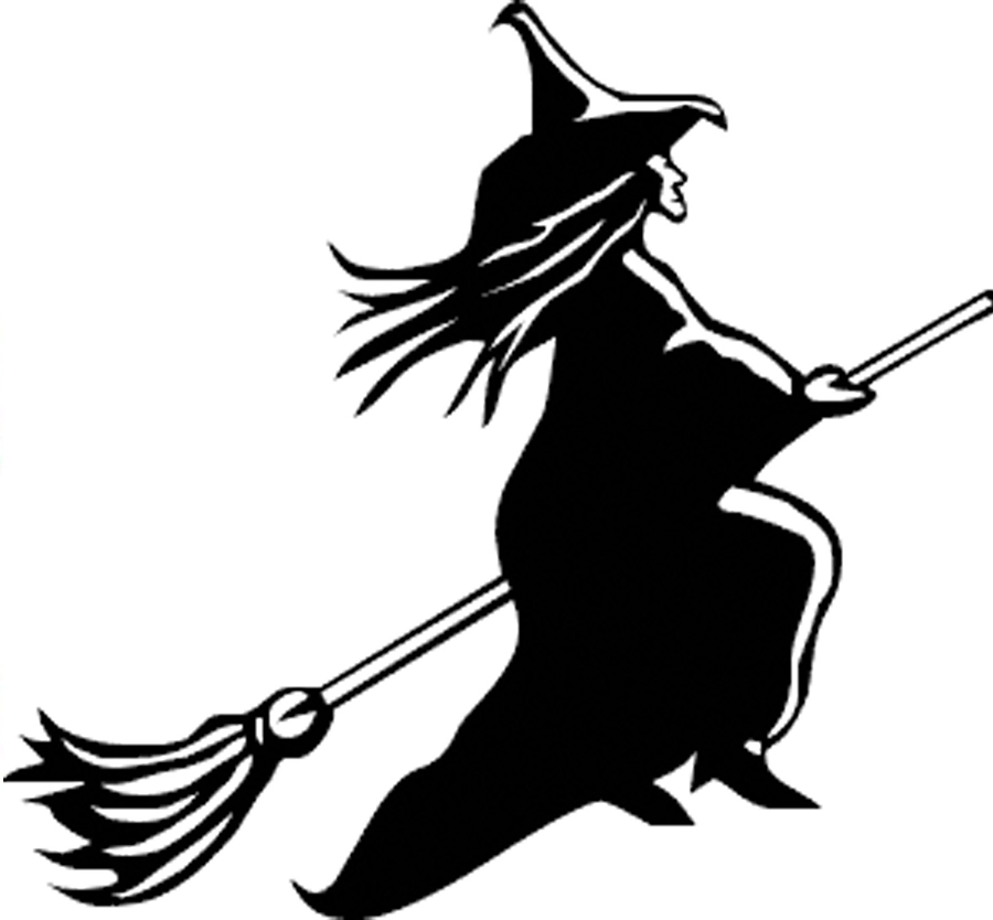 Witch On Broom Drawing