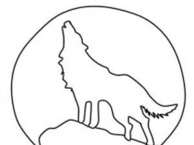 640x480 Drawn Lunar Wolf Howling Moon