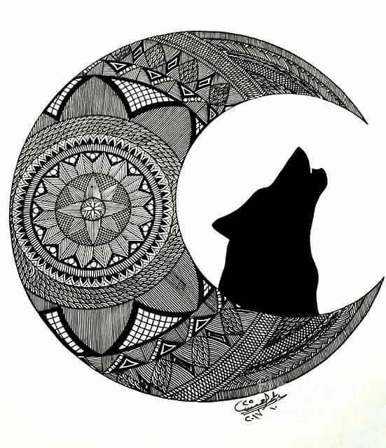 551x640 Moon Wolf Drawing
