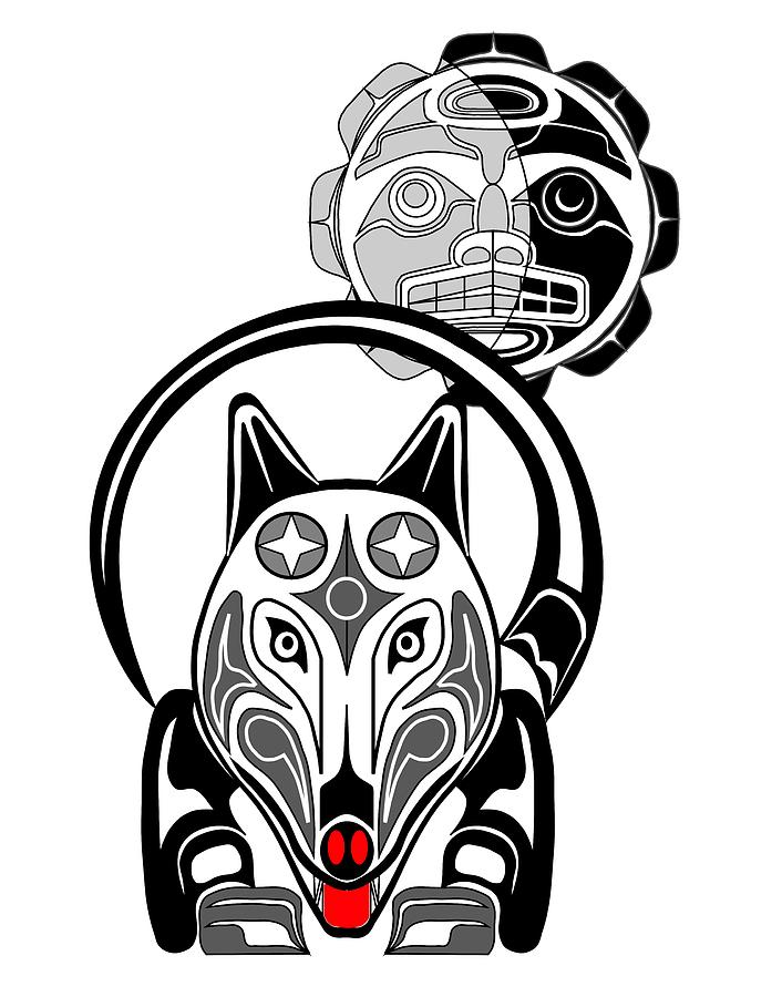 706x900 Wolf And Moon Totem Drawing