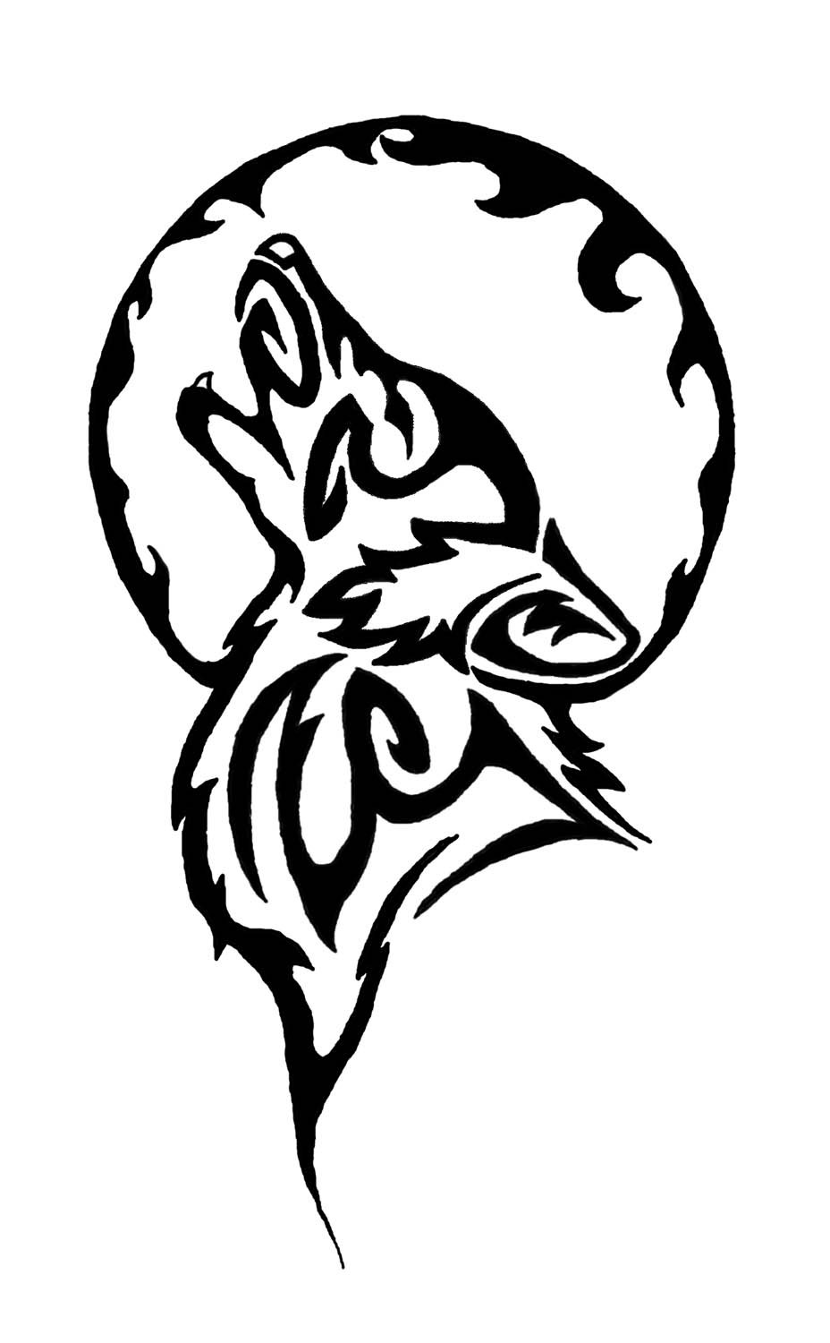 928x1500 Tribal Tattoos Wolf And Moon Ideas And Designs