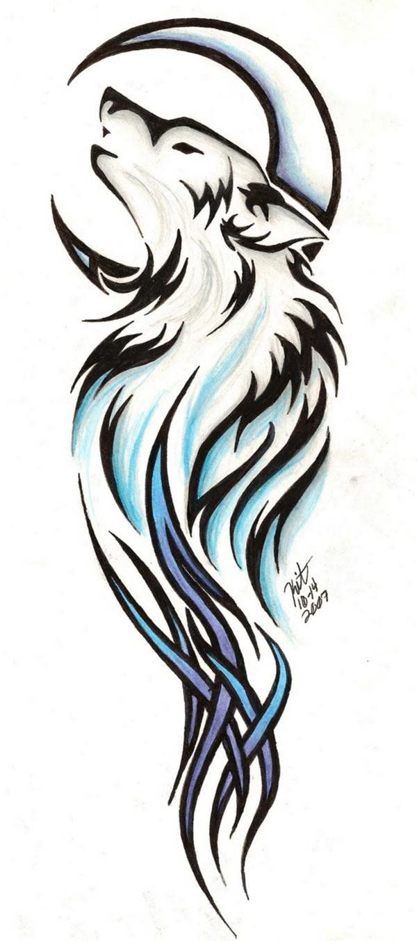 600x1353 Wolf In Moon And Wolf Head Tattoo On Forearm