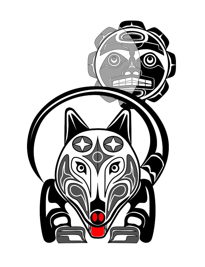 691x900 Wolf Moon Totem Drawing