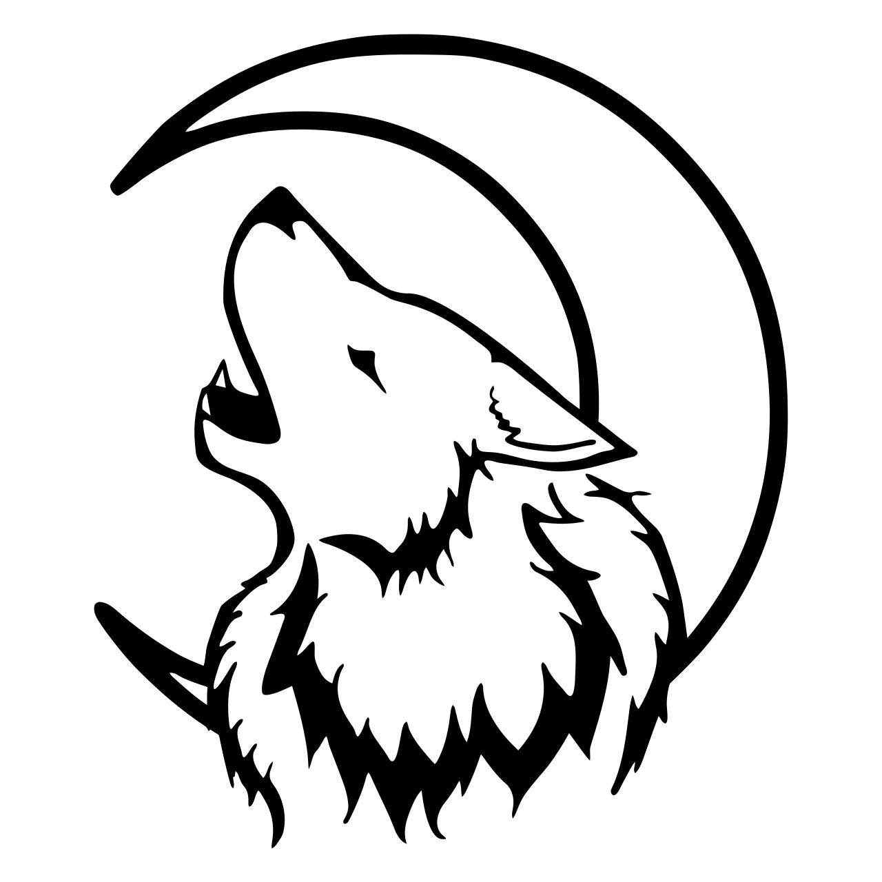 1280x1280 Crescent Moon Wolf Clipart