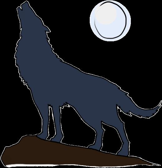 520x537 Download Cartoon Wolf Howling Moon