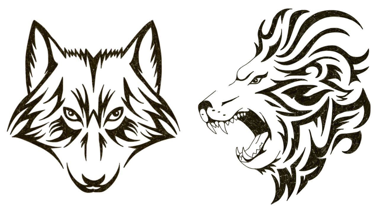 1280x720 How To Draw A Lion Draw A Wolf Face Tattoo Design Speed
