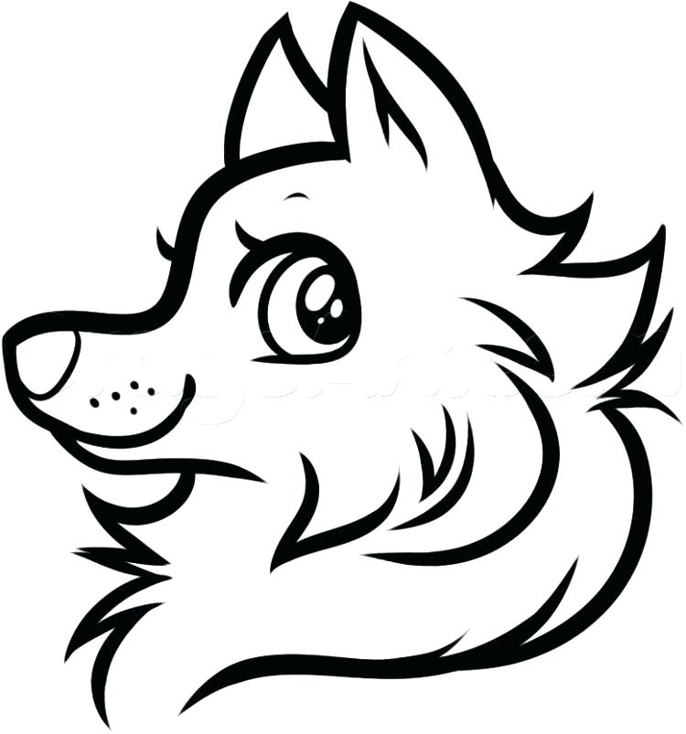 750x803 Outline Of A Wolf Face Tattoo Head Cartoon Mascot Character Vector