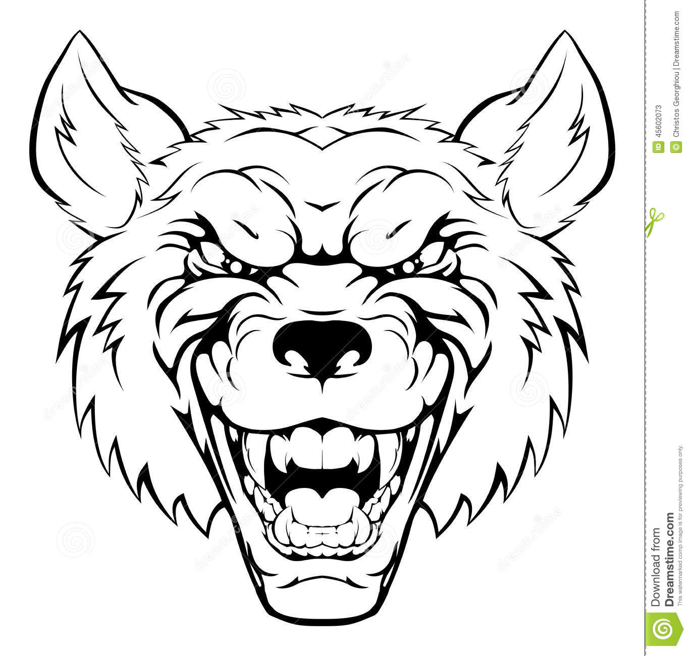 1367x1300 Angry Wolf Face Drawing Wolf Sports Mascot Angry Face Stock Vector