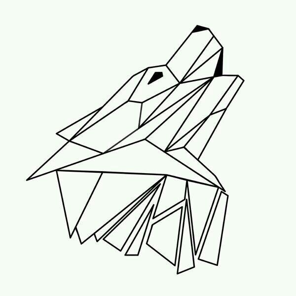 Wolf Geometric Drawing