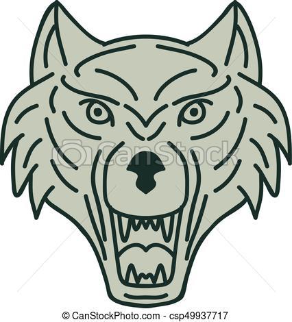 426x470 gray wolf head mono line mono line style illustration of a gray