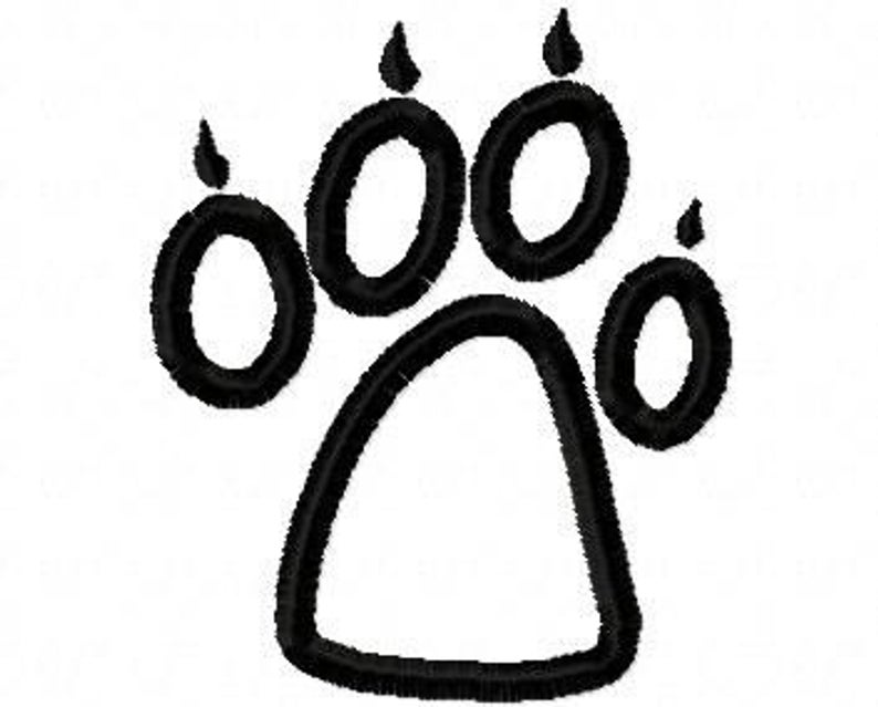 794x639 Wolf Paw Print Embroidery Machine Applique Design Etsy
