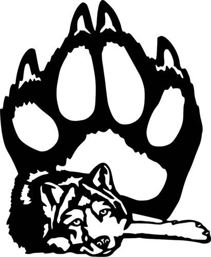 411x500 Wolf Paw Print Wall Car Laptop Window Die Cut Vinyl Sticker Decal