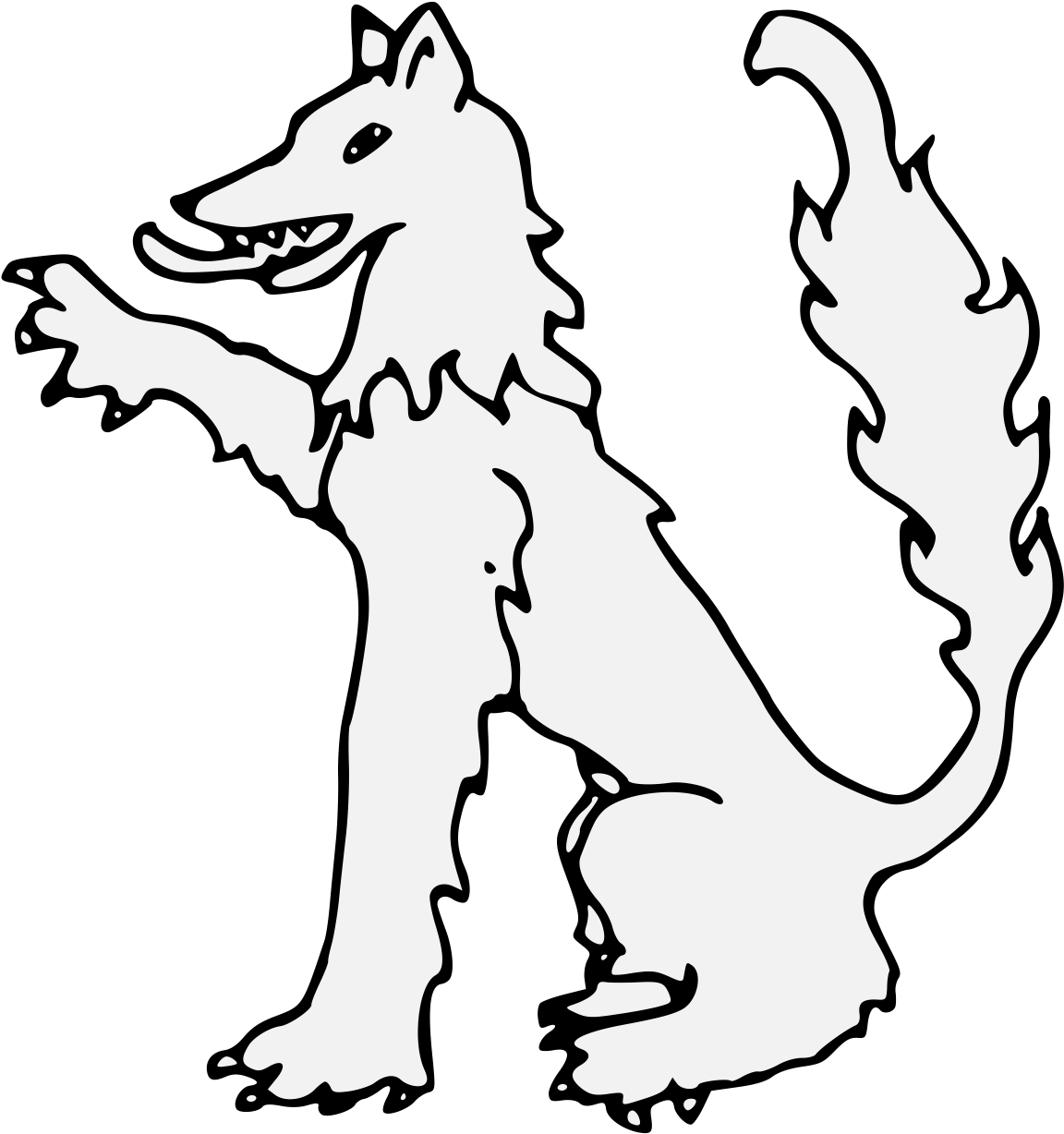 1152x1228 Wolf Sejant Dexter Paw Raised Traceable Heraldic Art