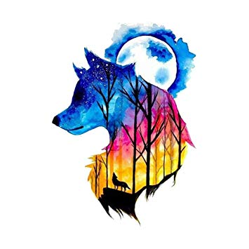 Wolf colorful. Tattoo drawing free download