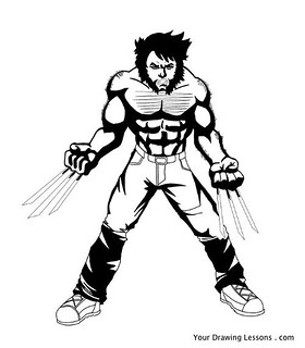 280x320 wolverine drawing a black and white drawing of wolverine