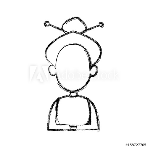 500x500 Silhouette Drawing Of Faceless Half Body Woman Hairstyle Vector