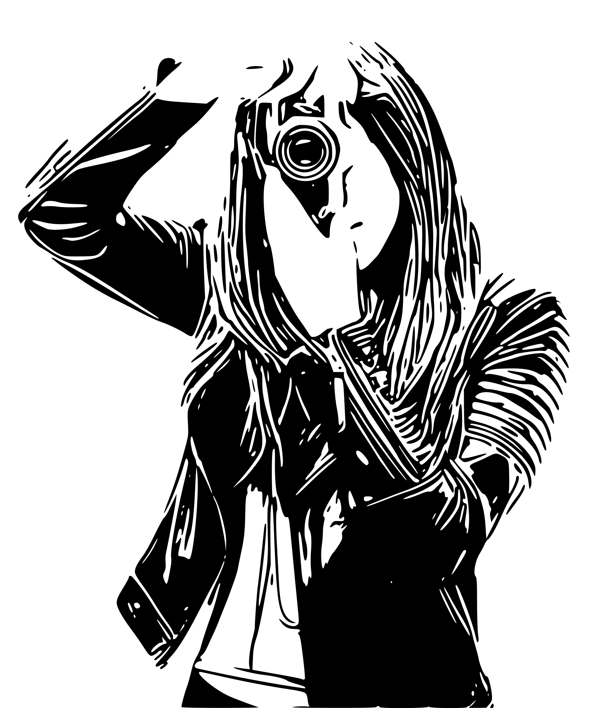 2030x2400 Camera Drawing Woman For Free Download