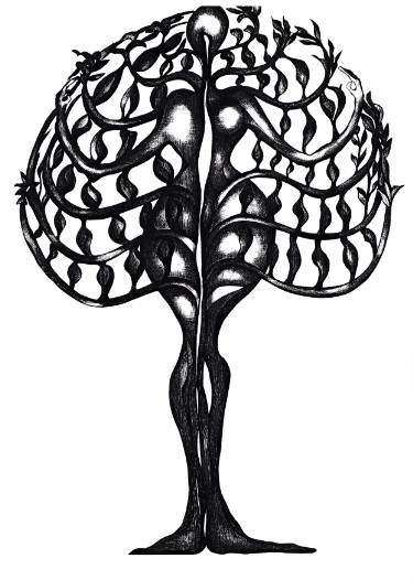 375x526 Woman Tree Drawing