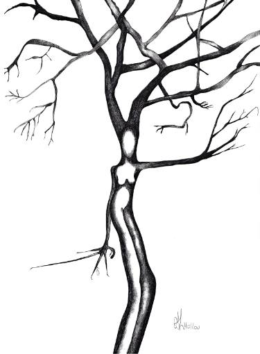 375x510 Woman Tree Drawing
