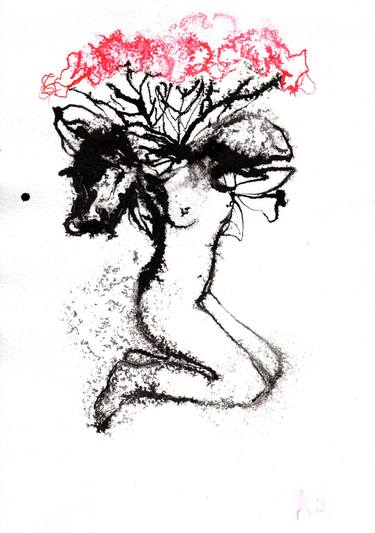 375x533 Beautiful Mix Of Flower And Woman Drawing