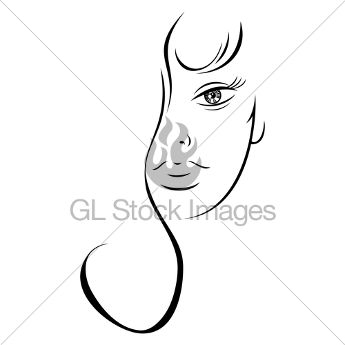 500x500 Contour Drawing Sensual Woman Face Gl Stock Images