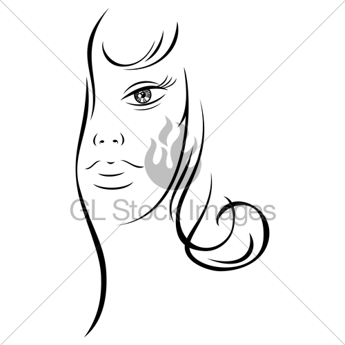 500x500 Line Drawing Beautiful Woman Face Gl Stock Images