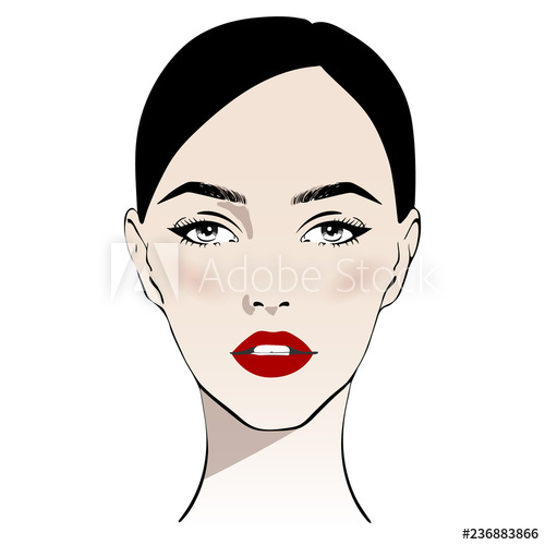 500x500 Beautiful Woman Face With Classic Make Up And Red Lips Hand Drawn