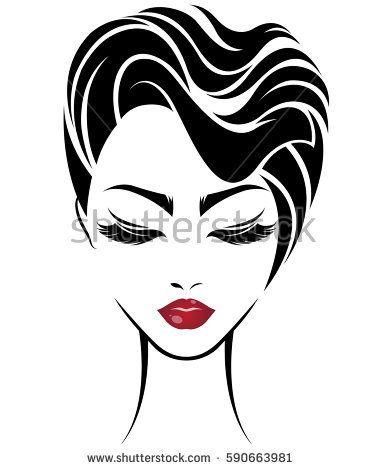 381x470 Illustration Of Women Short Hair Style Icon, Logo Women Face