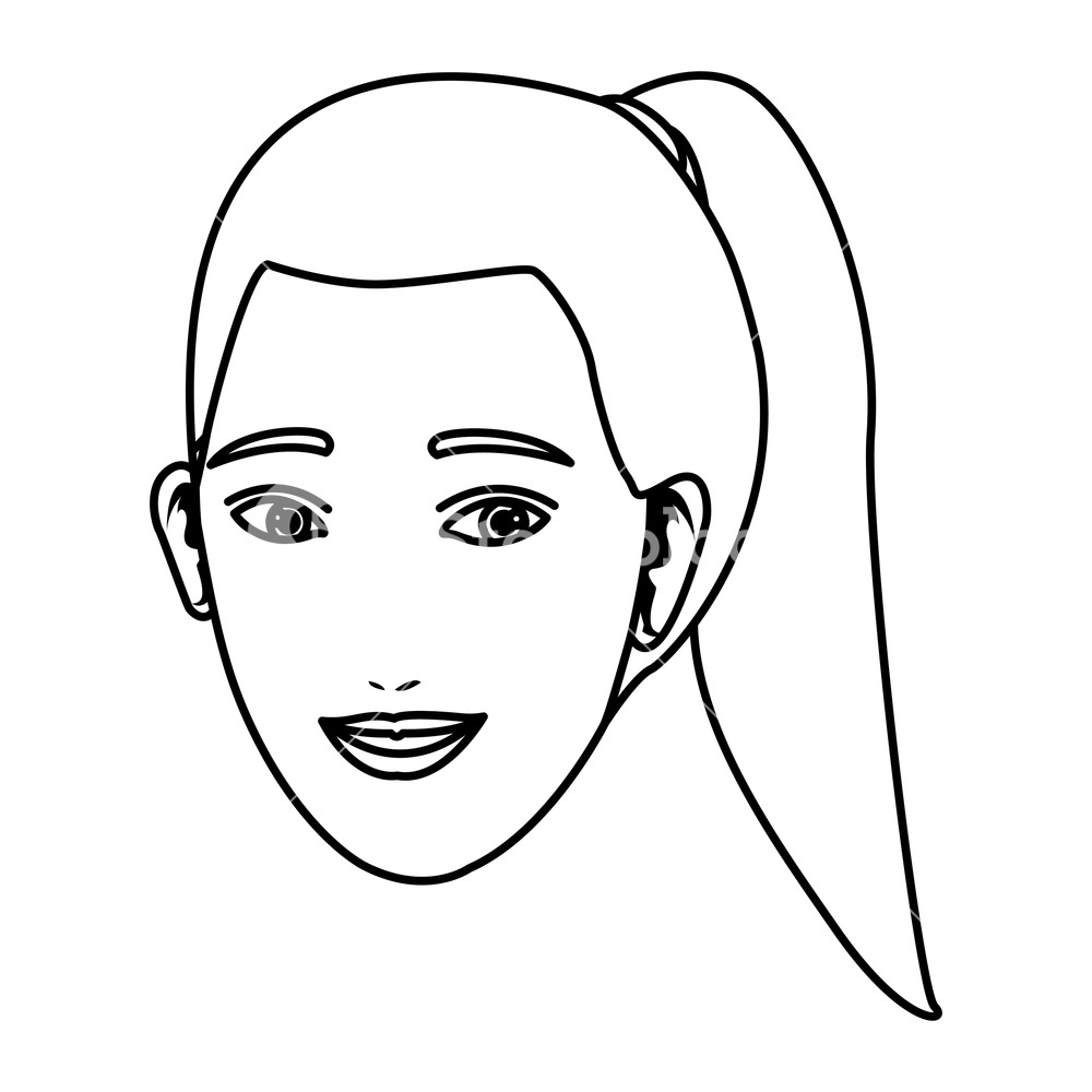 1000x1000 Woman Only Face Drawing In White Background Vector Illustration