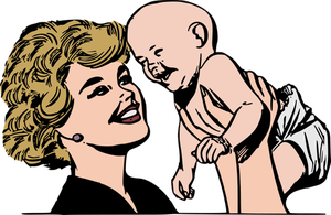 Woman Holding Baby Drawing