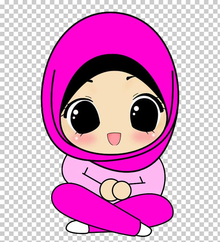728x800 hijab muslim islam cartoon drawing, muslim kids, illustration