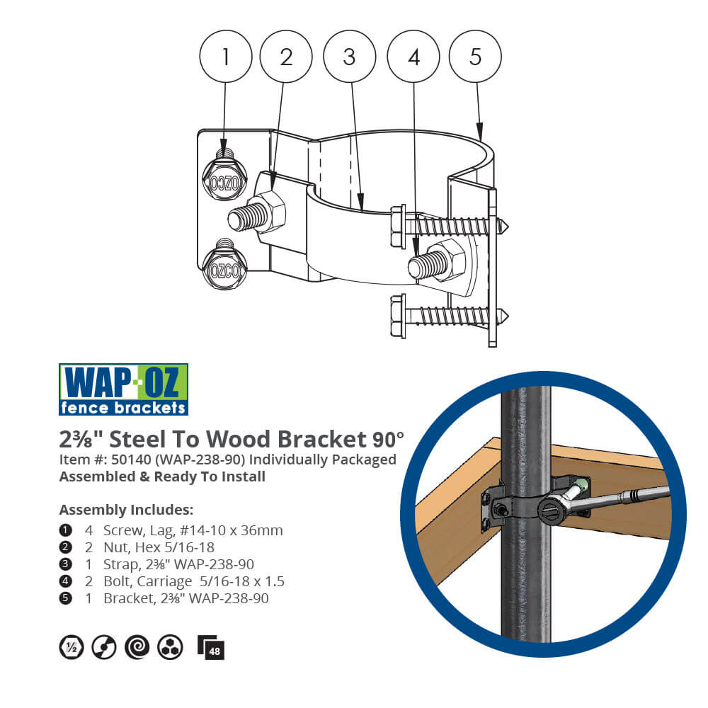 1000x1000 Steel To Wood Fence Bracket