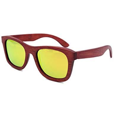 385x385 Red Drawing Wood Polarised Sunglasses