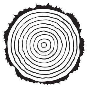 300x300 Vector Black And White Wooden Cut Of A Tree Log Stock Vectors