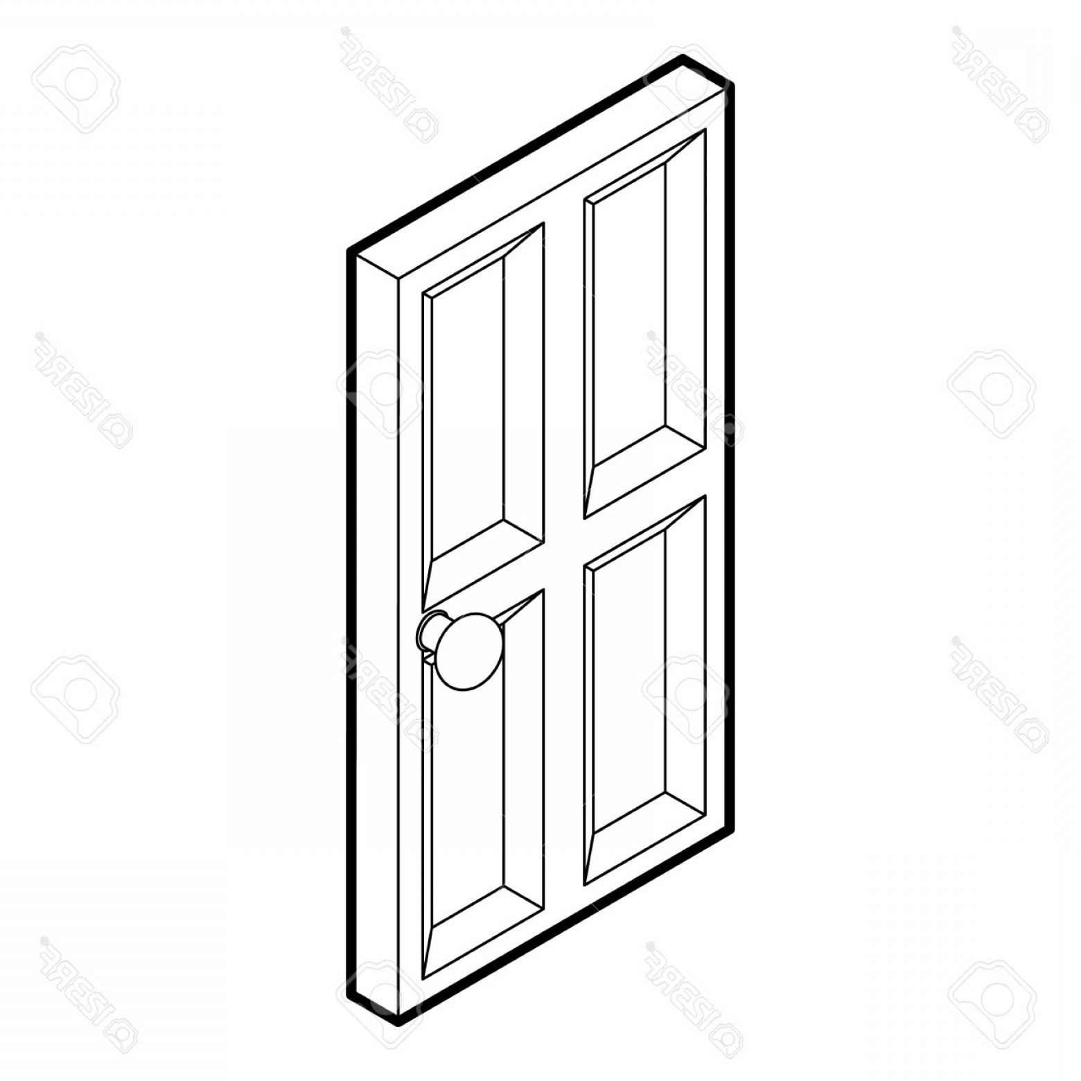 1560x1560 Photostock Vector Wooden Door Icon Outline Illustration Of Door
