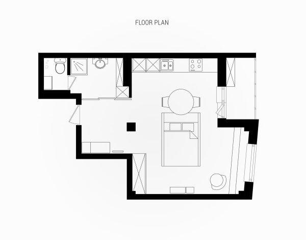 600x470 Pink And Wood Decor Studio Apartment