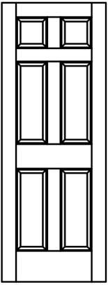 155x407 Raised Wood Panel Square Top Woodport Doors