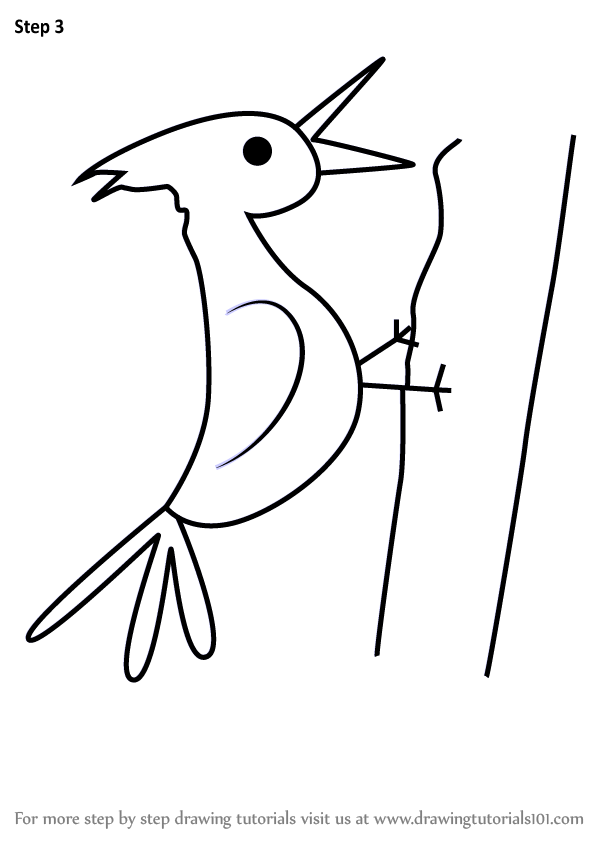 598x844 Learn How To Draw A Woodpecker For Kids