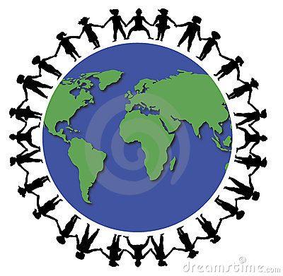400x391 Hands Around World Peace In The World Thrift Store Shopping