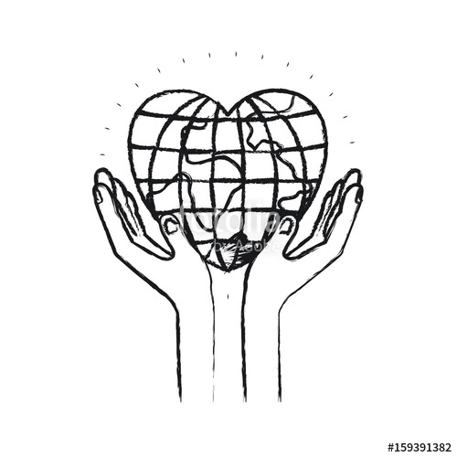 500x500 Blurred Silhouette Hands With Floating Earth Globe World In Heart