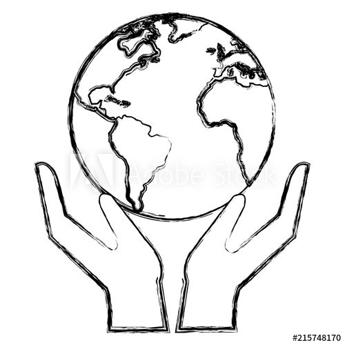 500x500 Hands With World Planet Vector Illustration Design