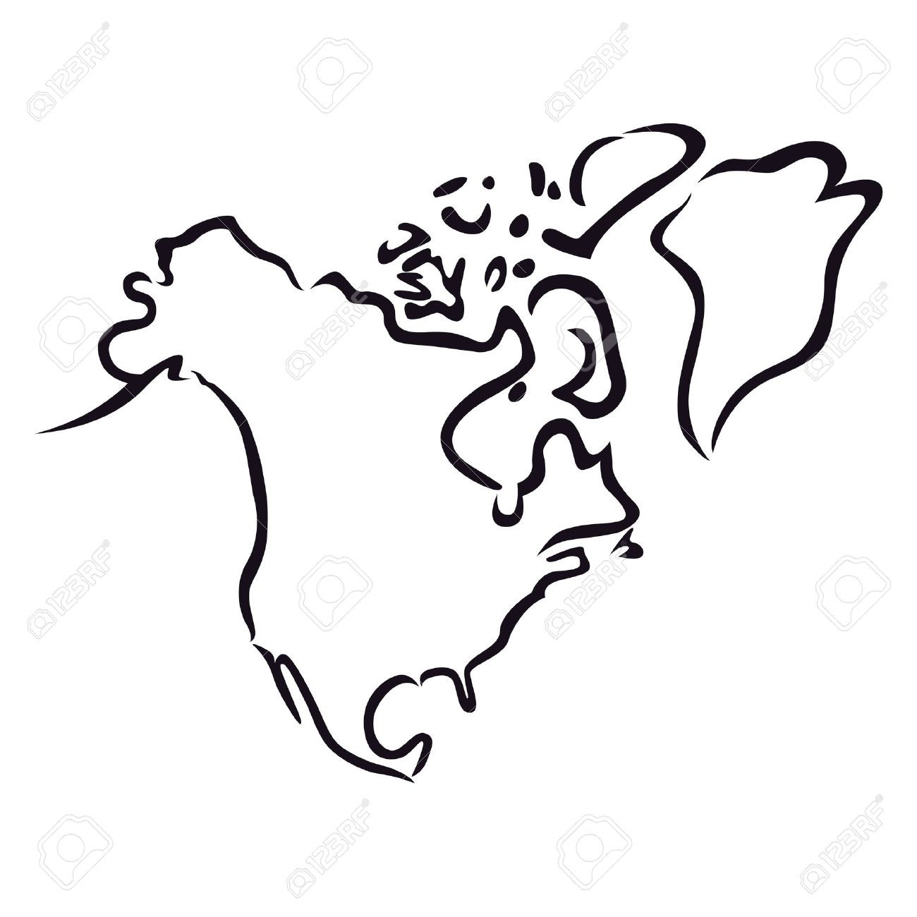 World Map Line Drawing