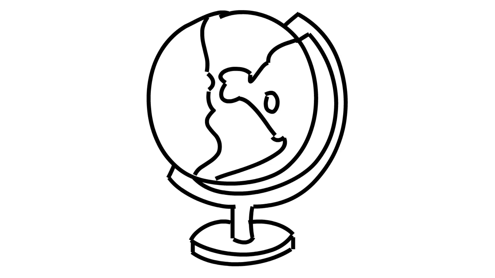 1920x1080 Globe Atlast World Map Line Drawing Illustration Animation