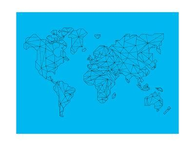 400x300 World Map Blue Art Print