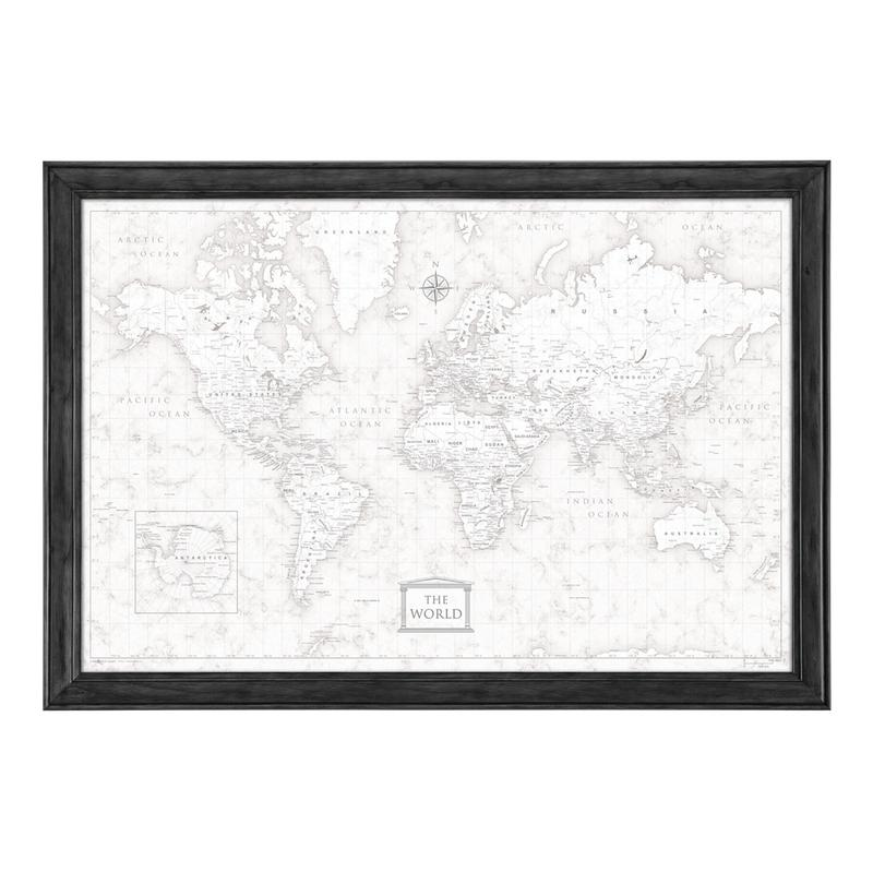 800x799 World Travel Map Poster Classic Marble