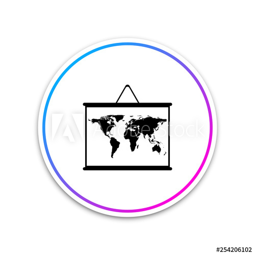 500x500 World Map On A School Blackboard Icon Isolated On White Background