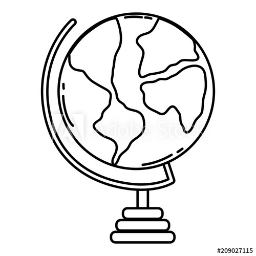 500x500 Line Global World Map Geography Desk