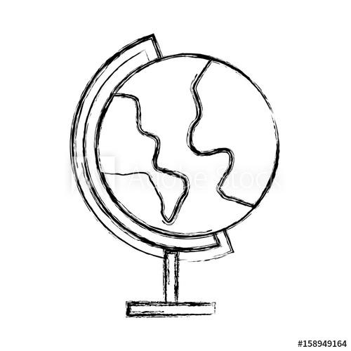 500x500 Sketch Draw World Map Cartoon Vector Graphic Design
